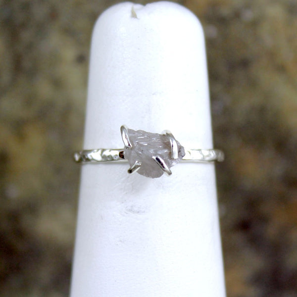 Rustic Raw Uncut Diamond Ring - Stacking Ring - Hammered Finish Sterling Silver