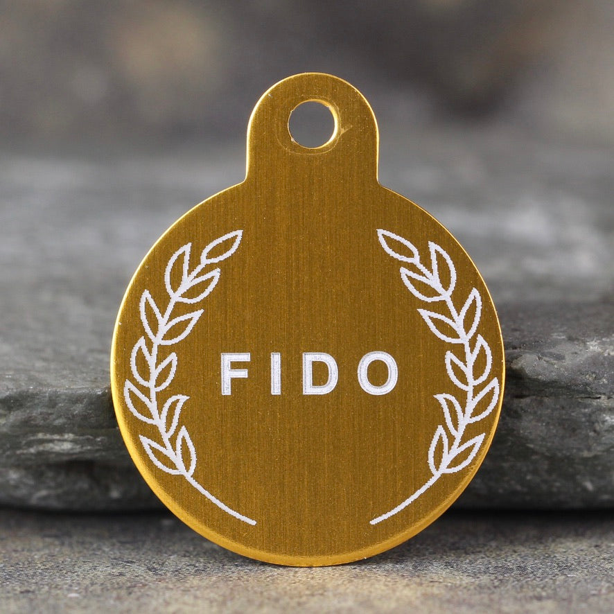 """Fido"" Dog ID Tag - 3 sizes, 9 Colors - Laser Engraved with your Custom Text"