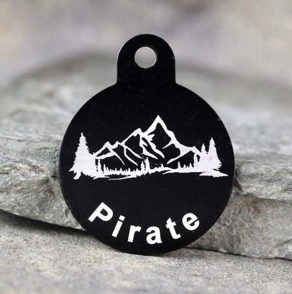 "Mountain ""Pirate"" Dog ID Tag - 3 sizes, 9 Colors - Laser Engraved with your Custom Text"