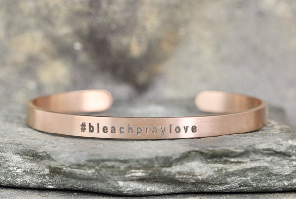 #BLEACHPRAYLOVE cuff style bracelet - New! - a Go Clean Co collaboration - #yyc small business
