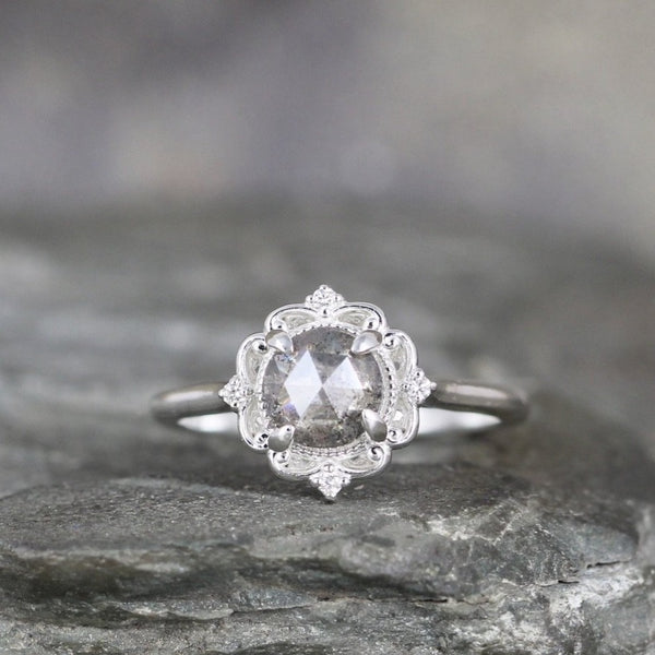 Salt & Pepper Rose Cut Diamond Ring - Modern Halo Ring