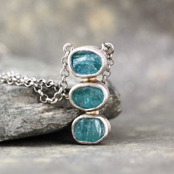 Blue Apatite Rough Gemstone Trio Pendant