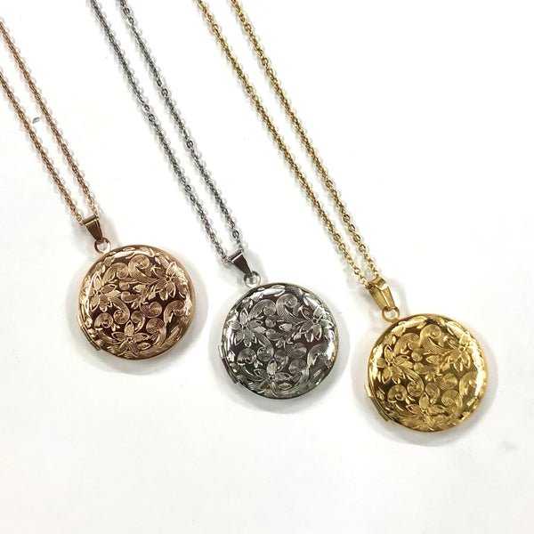 Round Stainless Steel Engraved Locket - Rose, Yellow or Silver - Hinged Locket with Floral Design - Memory Keepers
