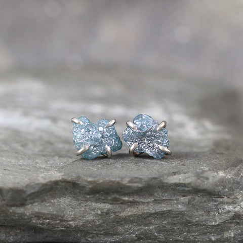 14K White Gold Blue Diamond Earrings - Handmade Stud Earring - Rough Raw Uncut Diamonds