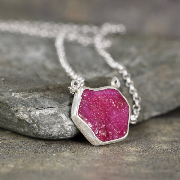 Ruby Rough Gemstone Statement Pendant
