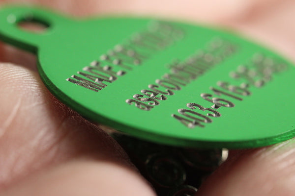 'Oh Shit! I'm lost!'  Bone Shape Dog ID Tags - 6 sizes, 9 Colors - Laser Engraved with your Custom Text