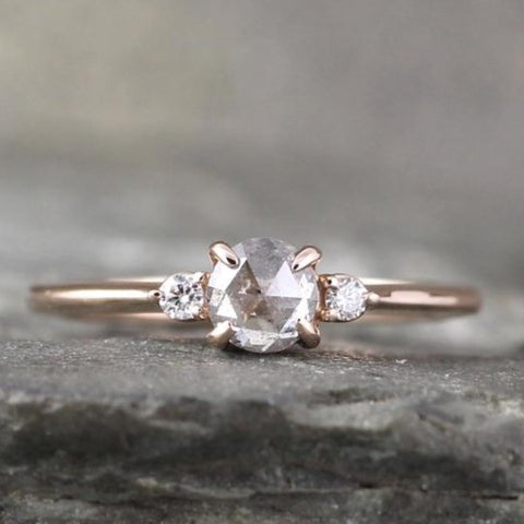 Three Diamond Ring with Salt and Pepper Rose Cut Diamond - 14K Rose gold Engagement Ring