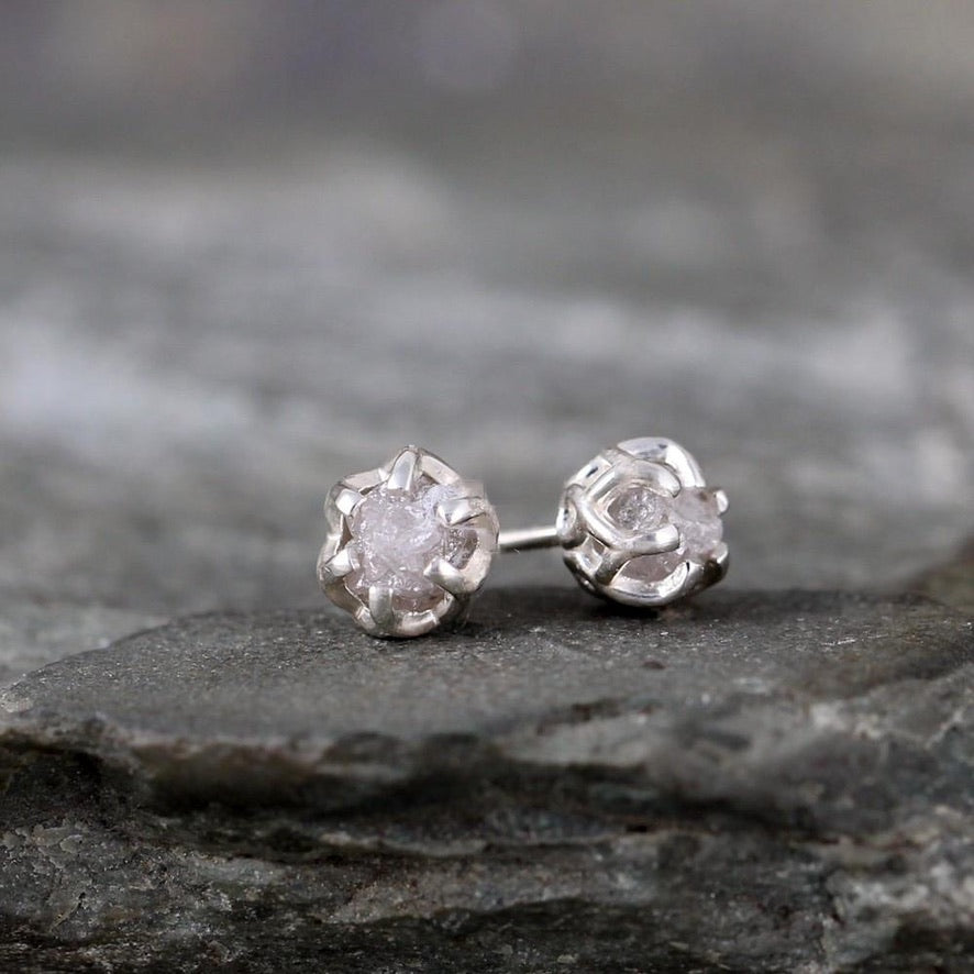 Rough Uncut Raw Diamond Earrings - 1 Carat Total Weight - Sterling Silver Basket Weave Stud Earring