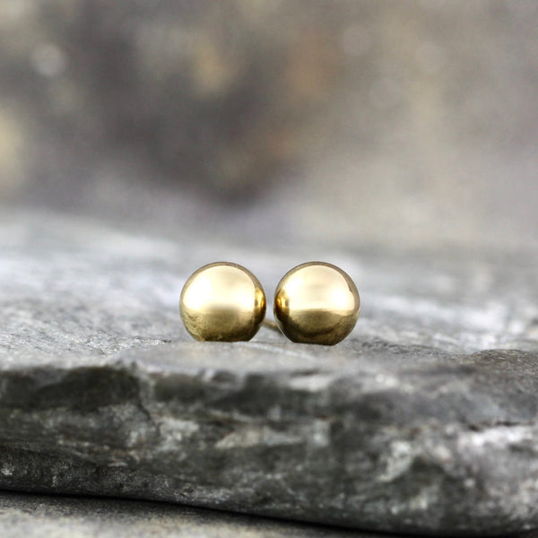 6mm Stud Earrings - Stainless Steel - White
