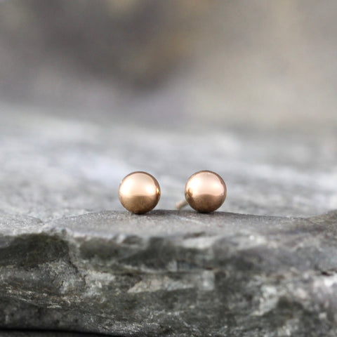 4mm Stud Earrings - Stainless Steel - Rose