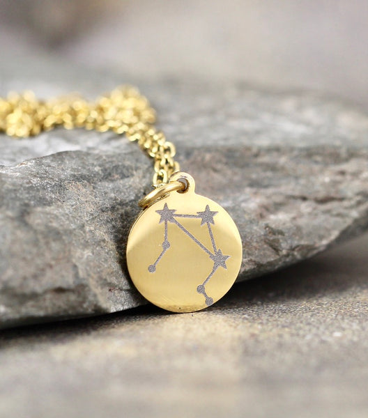 ZODIAC Engraved Pendant - Celestial - Stainless Steel in Rose, Yellow or White - Personalized Necklace