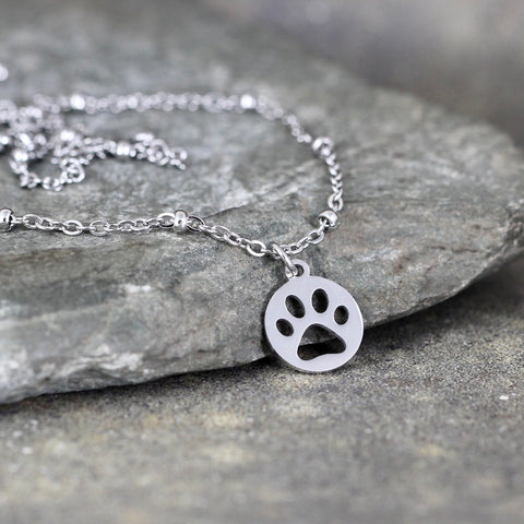 Paw Print Necklace - Cut out Paw Print - Pet Lovers pendant -  Stainless Steel in your choice of Rose, Yellow or White