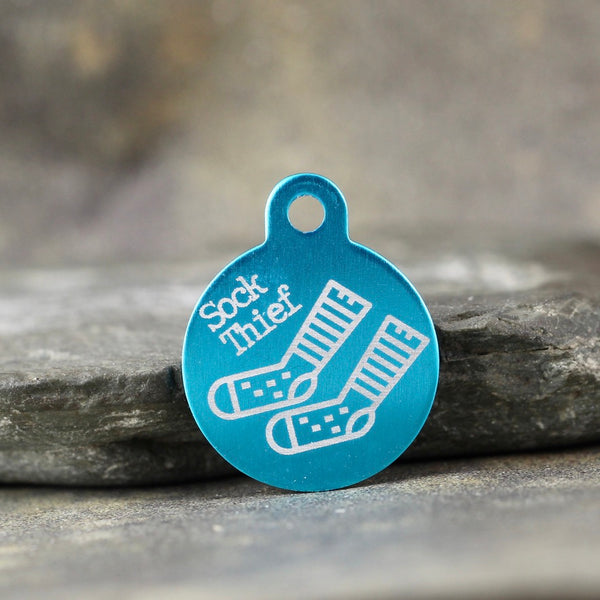 """Sock Thief"" Dog ID Tag - the 'TASH' tag - 3 sizes, 9 colors - Laser Engraved with your Custom Text"