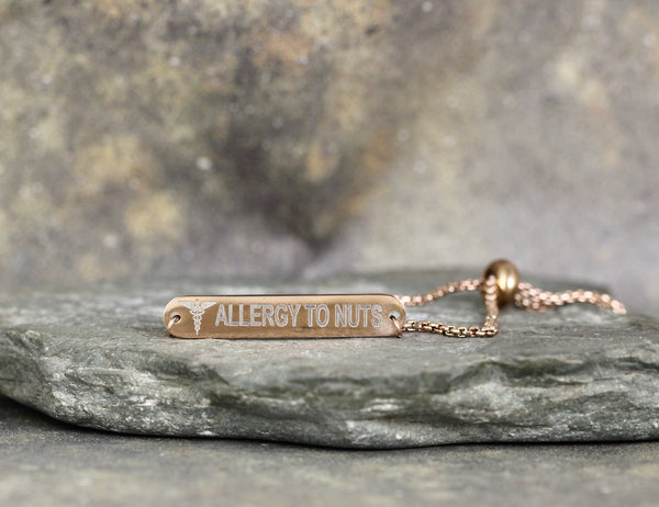 MEDICAL INFORMATION BRACELET - Stainless Steel in your choice of rose, yellow or steel - Engraved with your text