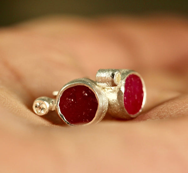 Raw Ruby with white topaz Earrings - Rough Uncut Red Gemstone Earring