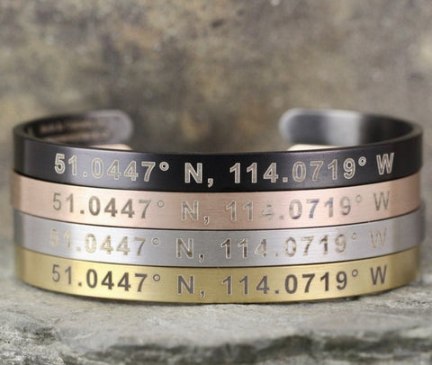 COORDINATES Cuff Bracelet - Stainless Steel in your choice of rose, yellow, steel or black - Engraved with your special place