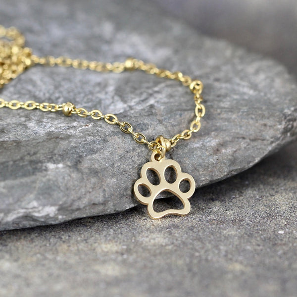 Open Paw Print Necklace - Paw Print - Pet Lovers pendant -  Stainless Steel in your choice of Rose, Yellow or White