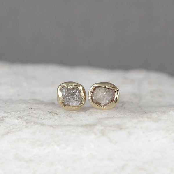 Yellow Gold Uncut Diamond Earrings - 14K Yellow Gold Handmade Stud Earring - Bezel Set Studs