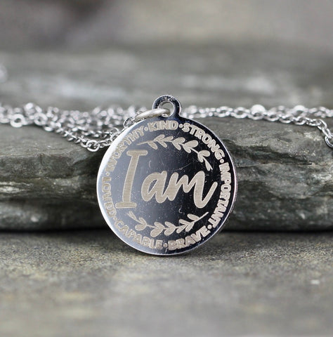 I AM  Worthy.Kind.Strong.Important.Brave.Capable.Loved  Necklace - Inspirational Sayings - Stainless Steel - You choose silver tone, yellow tone, rose tone