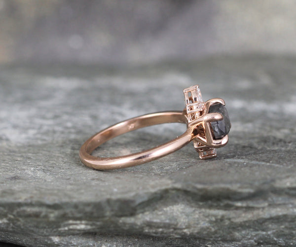 Salt and Pepper Rose Cut Diamond Modern Halo Ring - 14K Rose Gold