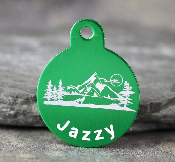 """Mountain""  Dog ID Tags - 3 sizes, 9 Colors, 6 Styles - Laser Engraved with your Custom Text"