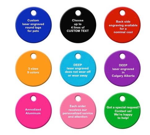 """Sadie"" Dog ID Tag - 3 sizes, 9 Colors - Laser Engraved with your Custom Text"