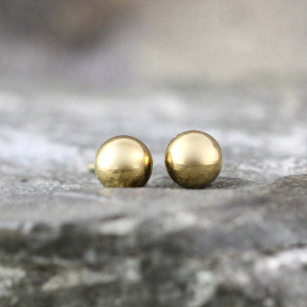 5mm Stud Earrings - Stainless Steel - Yellow