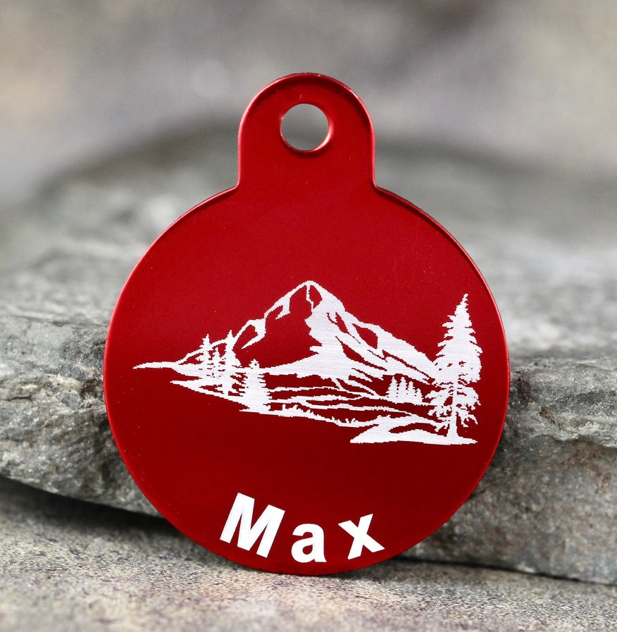 "Mountain ""Max"" Dog ID Tag - 3 sizes, 9 Colors - Laser Engraved with your Custom Text"