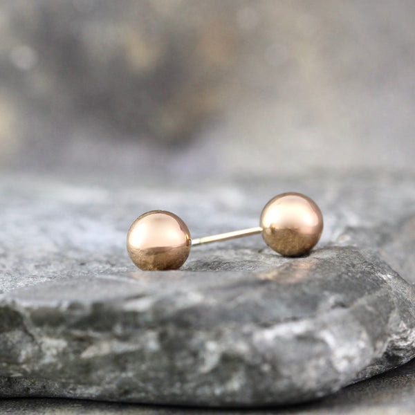 6mm Stud Earrings - Stainless Steel - Rose