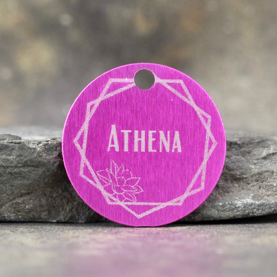 """Athena"" Dog ID Tag - 3 sizes, 9 Colors - Laser Engraved with your Custom Text"