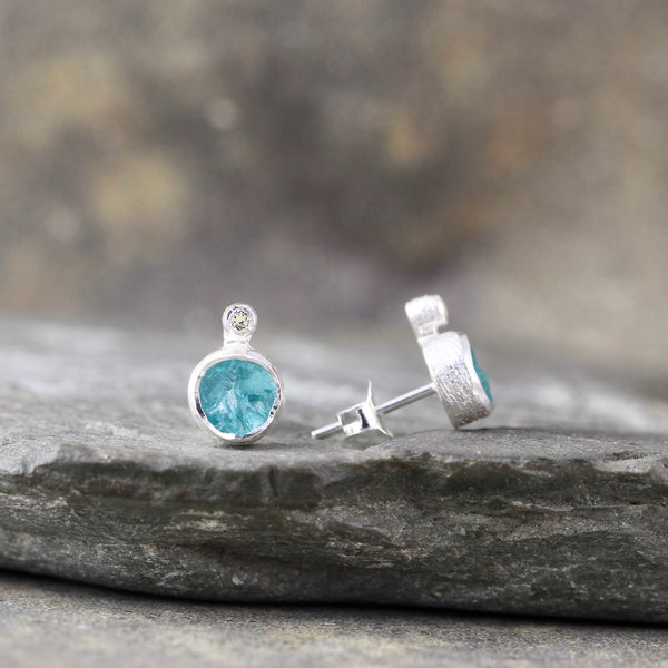 Raw Apatite with white topaz Earrings - Rough Uncut Blue/Green Gemstone Earring