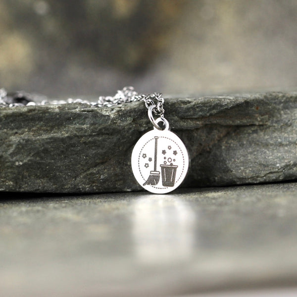 Mop & Bucket Pendant - Clean Freak Necklace - Stainless Steel in your choice of Rose, Yellow or White