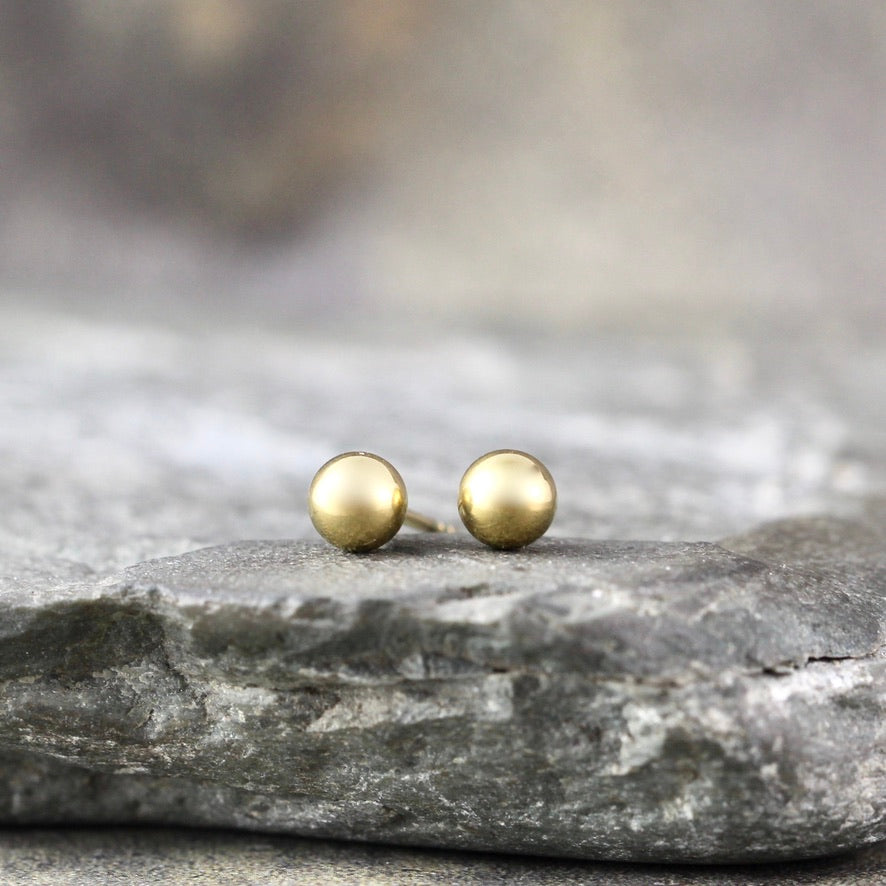 4mm Stud Earrings - Stainless Steel - Yellow