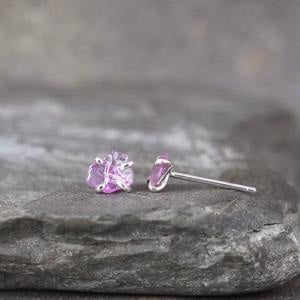 Natural Uncut Rough Pink Sapphire Earrings - Rustic Sterling Silver Earrings