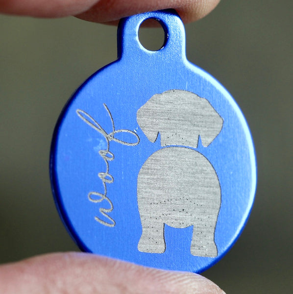 WOOF! Silhouette Dog ID Tags - 3 sizes, 9 Colors - Laser Engraved with your Custom Text