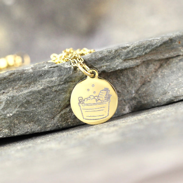 Laundry Bucket Pendant - Wash Day Laundry Tub Necklace - Stainless Steel in your choice of Rose, Yellow or White