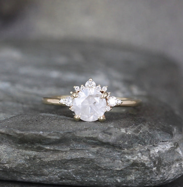 Yellow Gold Modern Halo Ring with Sparkling Salt and Pepper Natural Diamond
