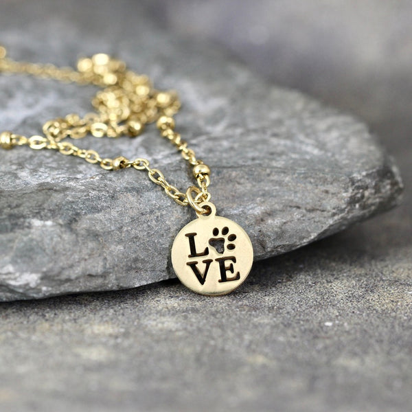 LOVE Paw Print Necklace - Pet Lovers pendant -  Stainless Steel in your choice of Rose, Yellow or White