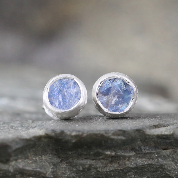 Rainbow Moonstone Earrings - Rough Uncut Moonstone Gemstone Earring