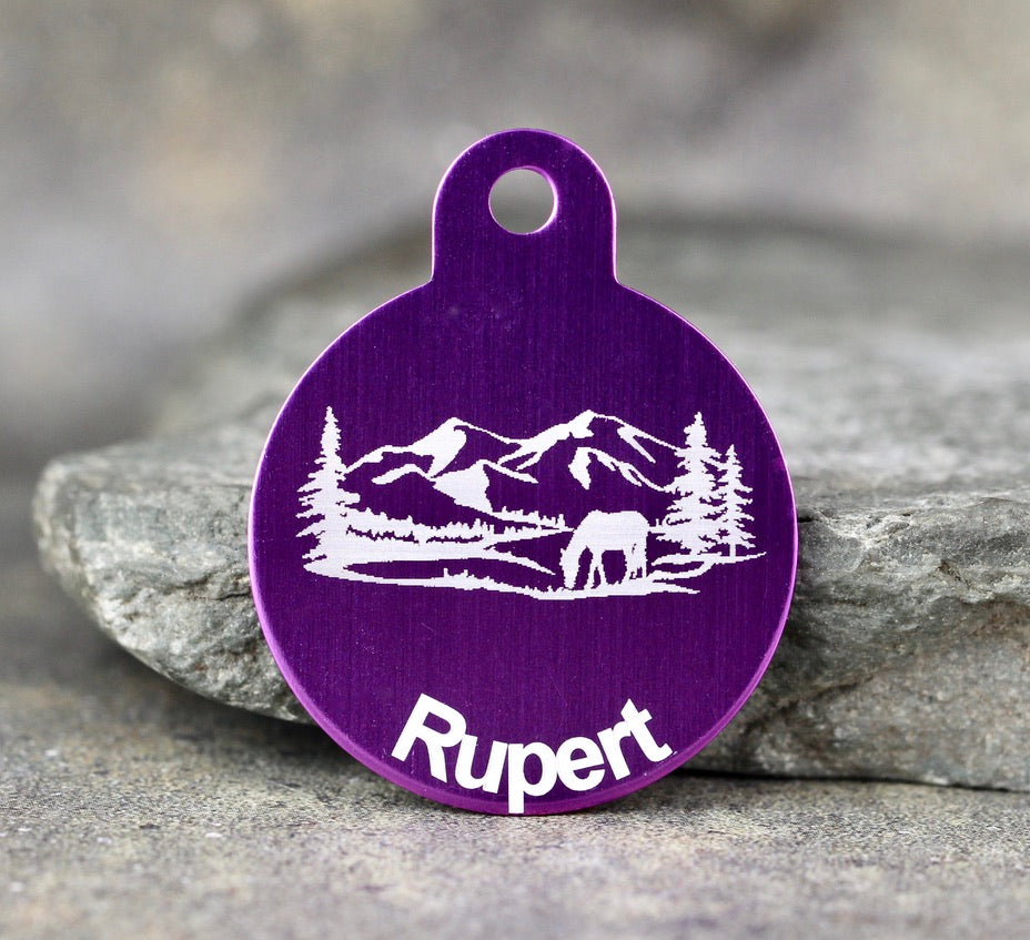 "Mountain ""Rupert"" Dog ID Tag - 3 sizes, 9 Colors - Laser Engraved with your Custom Text"