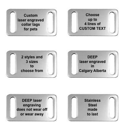 STAINLESS STEEL PET COLLAR TAGS - 2 STYLES AND 3 SIZES TO CHOOSE FROM - DEEP LASER ENGRAVED