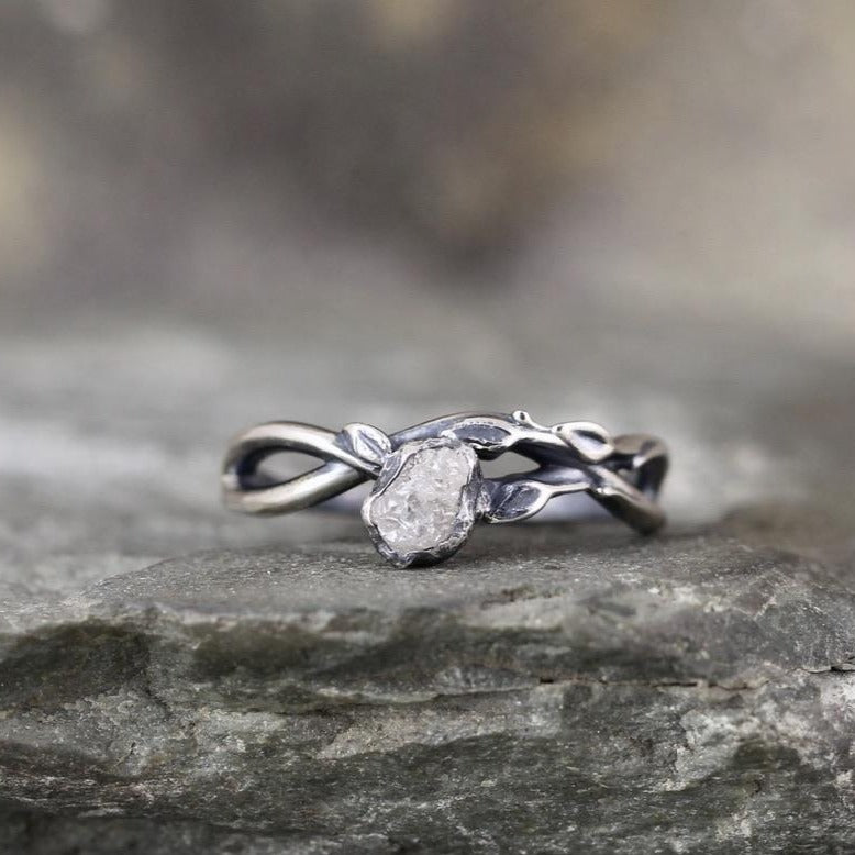 Rough Diamond Ring - Infinity and Leaf design - sterling silver