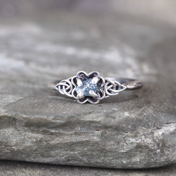 Celtic Knot Raw Uncut Blue Diamond Ring - Rustic - Sterling Silver