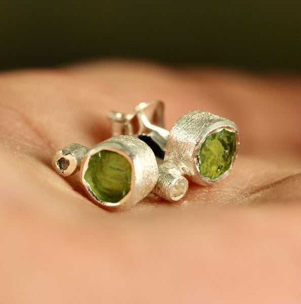 Raw Peridot with white topaz Earrings - Rough Uncut Green Gemstone Earring