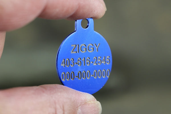 Round Shape Dog ID Tags - 3 sizes, 9 Colors - Laser Engraved with your Custom Text