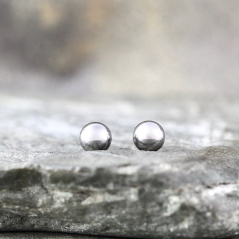 5mm Stud Earrings - Stainless Steel - White