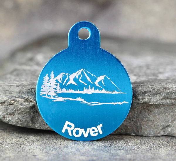 "Mountain ""Rover"" Dog ID Tag - 3 sizes, 9 Colors - Laser Engraved with your Custom Text"