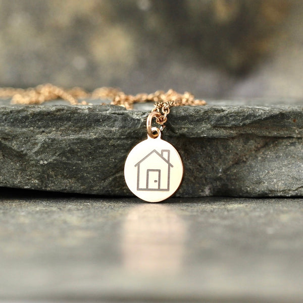 GOCLEANCO  House Logo Pendant - Engraved House Necklace - a Go Clean Co and A Second Time collaboration - #yyc small business