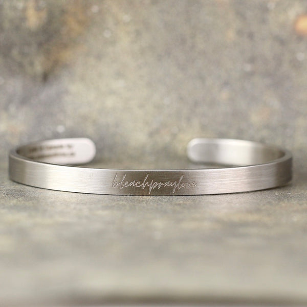 NEW!   Bleach Pray Love cuff style bracelet - script style font - adjustable - a Go Clean Co collaboration - #yyc small business