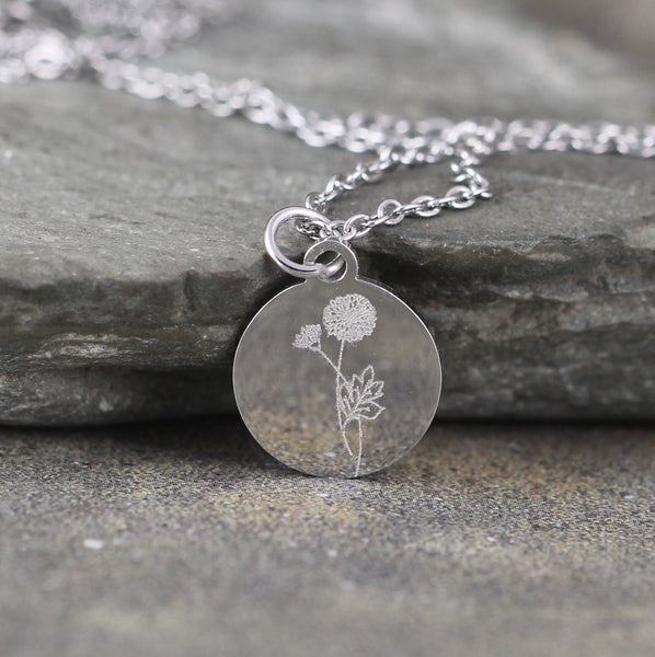 BIRTH MONTH FLOWER Pendant - Engraved - Stainless Steel in Rose, Yellow or White - Personalized Necklace